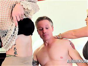 Alura Jenson mummy three-way pound with Brandi May