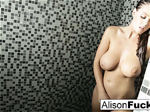 Alison showers and plays with her tight cooch