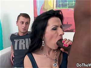 Mature wifey with giant ebony chisel internal ejaculation