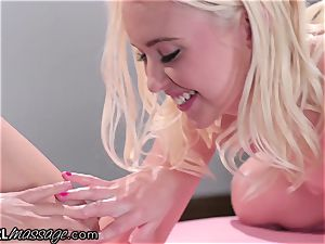 Adria Rae's Lez masseuse polishes on donk with bare vulva