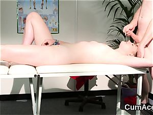 horny cutie gets cum shot on her face fellating all the splooge