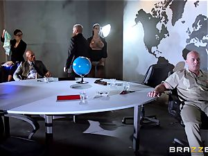 fat breasted Peta Jensen pummeled throughout the boardroom table