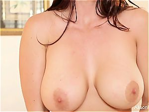 Alison Tyler's breasts can only get more brilliant when decorated with jizz