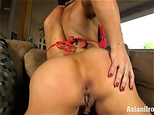 marvelous fitness model finger plumbs her humid labia for you