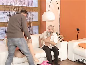 DADDY4K. dude and his elder father squad up to penalize sex-positive girlfriend