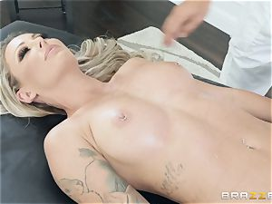 Isabelle Deltore feasting on a big pink cigar
