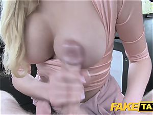 faux taxi super-sexy mum with immense bra-stuffers deep throats shaft