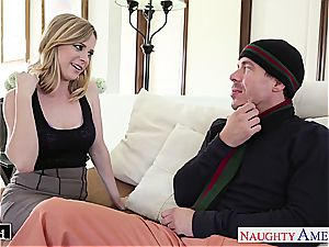 Ravishing Penny Pax glides his firm prick between her cooter lips