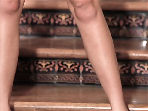 pumping out orgasm on the stairs