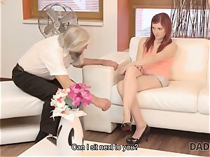 DADDY4K. messy guy frigs gf for hotwife on him with crazy father
