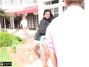 Jasmine Jae brings her guy fucktoy along for a point of view smashing