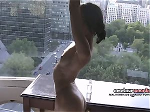 skinny french Montreal porno starlet displays toned fit body