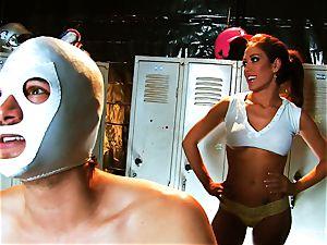 big-boobed brunette Capri drills an aspiring luchador