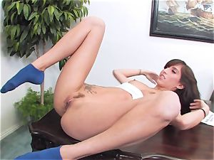 slutty brunette April ONeil getting her fuckbox violated by a monster salami
