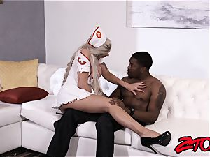 hotty Nina Elle nursing big black cock with labia and suck off