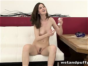 slender bombshell Charlotte taunting her smooth cooter