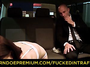 torn up IN TRAFFIC - cab car fuckfest with Czech dark-haired