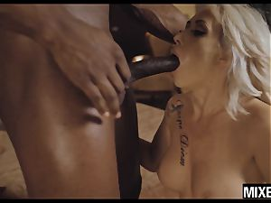 warm platinum-blonde Christina shine pounded by giant dark-hued cock