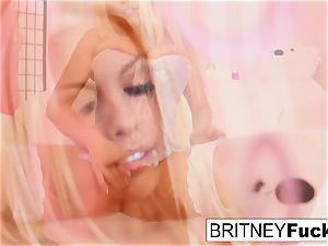 super-hot platinum-blonde beauty Britney plays with a massager
