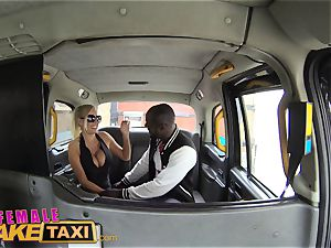 female faux taxi warm perspiring boning pays taxi fare