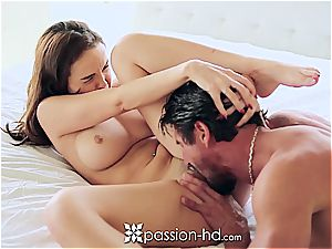Passion-HD - Dillion Harper frigs her clean-shaved gash