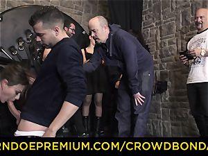 CROWD bondage - extraordinary sadism & masochism plow wheel with Tina Kay