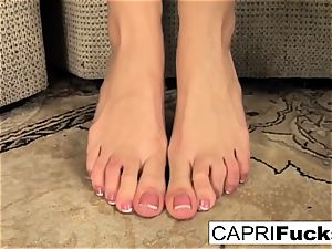 Capri plays with her vagina and soles