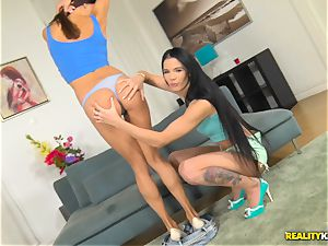 Lovenia Lux and Roxy Dee horny twat licking and hard fuckbox thrashing 4 way