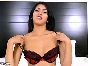Sophia Leone in super hot crimson underwear