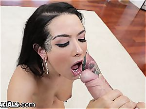 Katrina Jade getting the throat approach