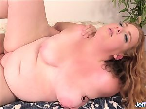 marvelous plus-size Ginger Rose pleased with a meaty trouser snake in Her facehole and cunny