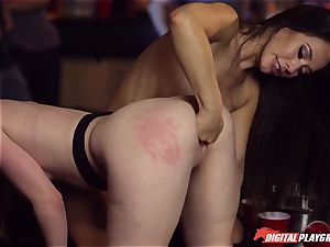 Red-headed whore Ella Hughes and fatal brown-haired Eva Lovia have hook-up in a nightclub