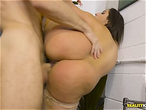 Abella Danger is bored at work and craves man meat