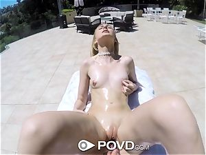POVD Outdoor fuck and facial cumshot for blonde Alexa grace
