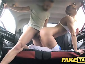 faux taxi Nurse in splendid lingerie has car orgy