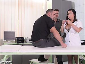 lush chinese nurse with hefty all-natural bra-stuffers three way