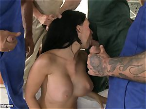 crazy paramour Aletta Ocean takes one jizz-shotgun at a time dipping sizzling in her mouth