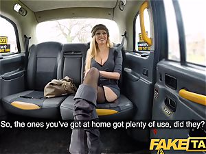 fake cab huge-titted blonde mummy Amber Jayne gargles and nails