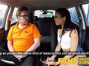 faux Driving college dark-hued yankee minx Kira Noir