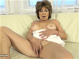 granny unshaved cooter strokes tears up dark-hued guy pecker