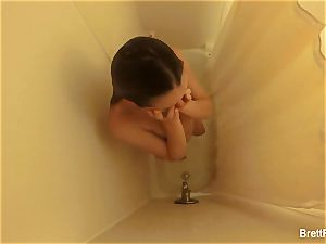 jaw-dropping ash-blonde Brett Rossi takes a super-cute shower