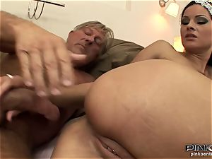 dark haired biotch gets penetrated rigid by an older man