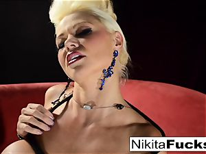 Russian milf Nikita does restrain bondage solo with a wand