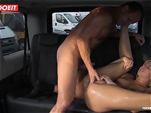 platinum-blonde sweetie drizzles all over the backseat of a van
