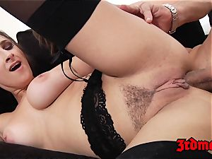 Ashley Adams anally plumbed on bed