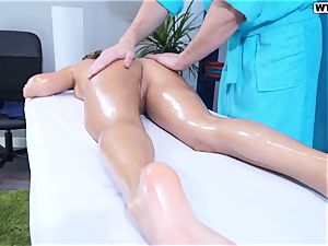 lovely Russian chick Ally on a hump massage session
