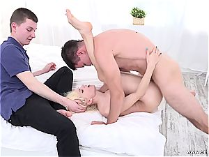 Omega cuck sees as his girlfriend gets rode by a lengthy impaler