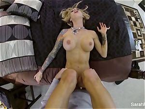 buxom adult movie star Sarah penetrates