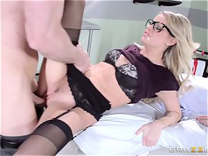 warm medic Jessa Rhodes checks out this thick man meat
