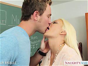 blond teacher Summer Brielle pound in classroom